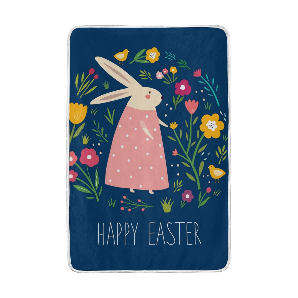 My Little Nest Happy Easter Cartoon Rabbit Cozy Throw Blanket Lightweight MicrofiberSoft Warm Blankets Everyday Use for Bed Couch Sofa 60'' x 90''
