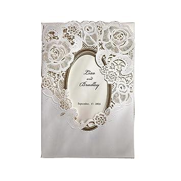 Amazon.com: 50PCS/Lot White Mirror Frame Wedding Invitations Elegant ...
