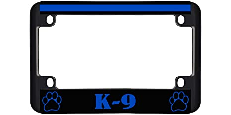 Police Thin Blue Line K9 Paw Print Metal License Plate