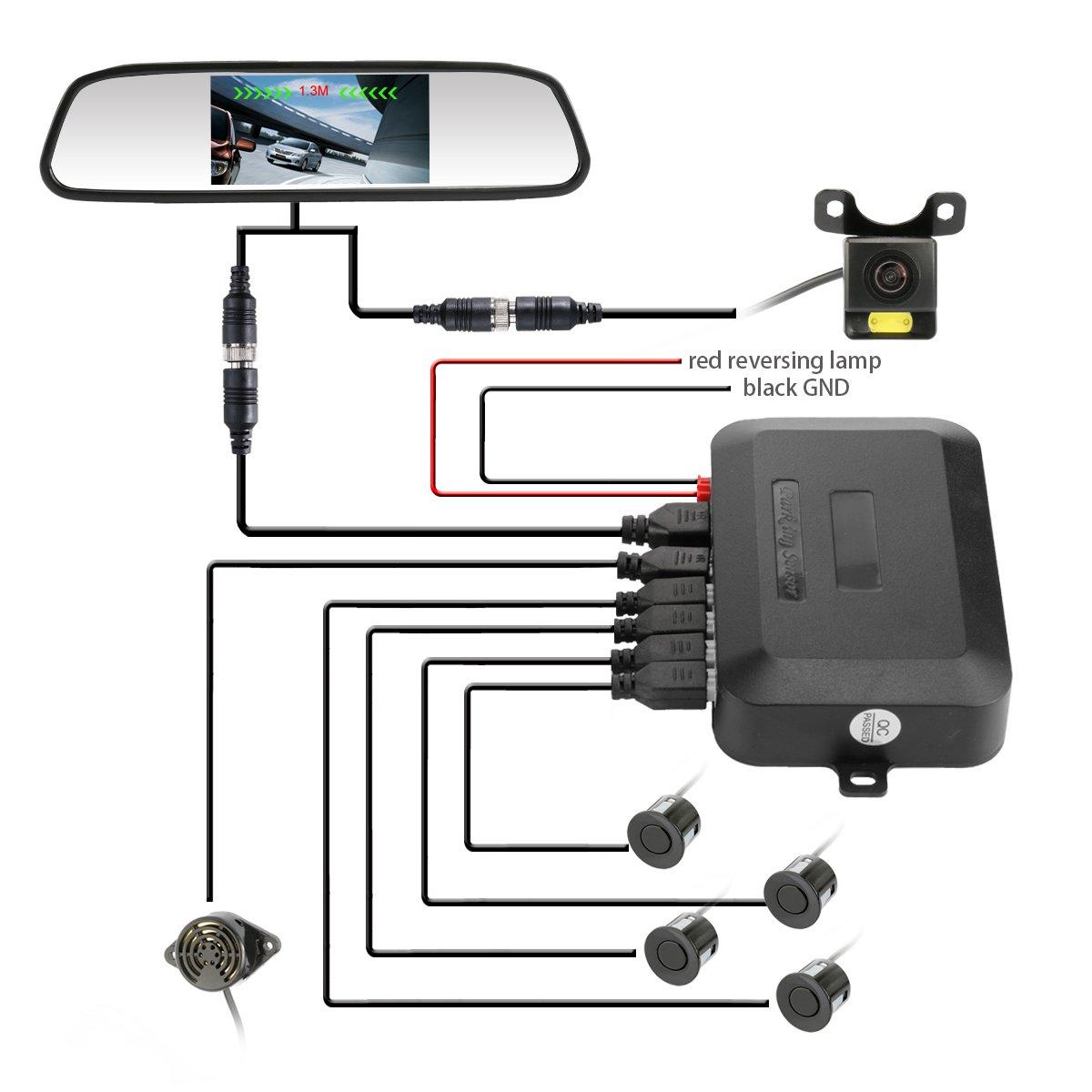 Car Mirror Monitor Backup Camera Reverse System Radar 4