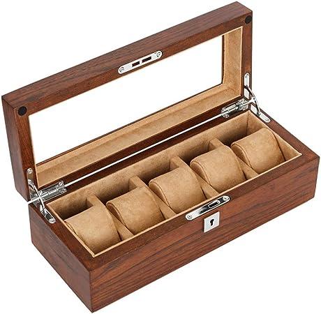 Noble Cajas para Relojes de Madera con 5 Compartimentos Estuche para Relojes y Joyeros Joyas Soporte de Exhibición Organizador Accesorios para Hombre Mujer: Amazon.es: Hogar