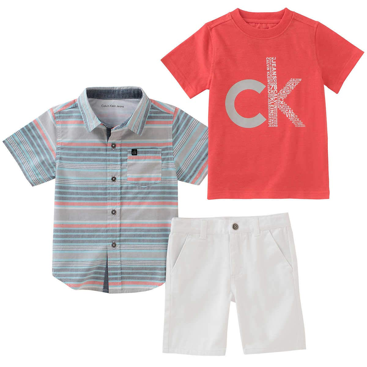 Clavin Klein 3-Piece Boys Shorts & Shirt Set