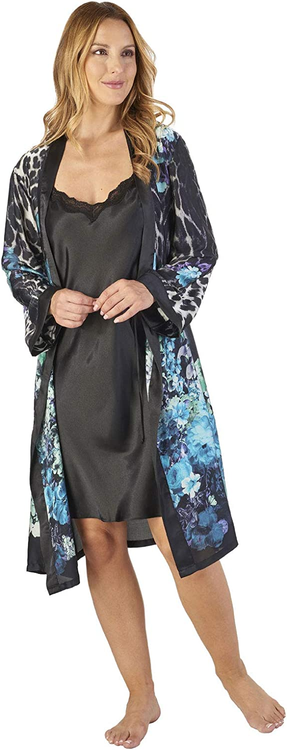 TALLA M. Slenderella GL2785 Women's Animal Satin Floral Kimono and Chemise Set