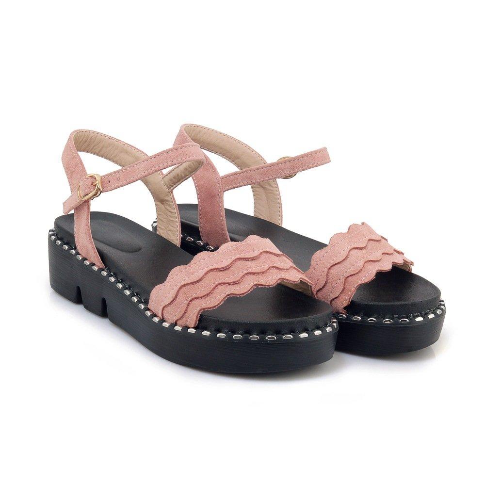 Mei&s B01M5GE6XI Décontracté Pink Femmes Talon Plat Sandales Peep Toe Toe Pink 5e5019f - epictionpvp.space