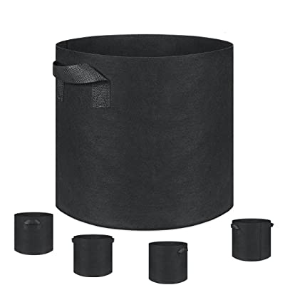 Grow Bags, Fabric Planter, 5-Pack 10 Gallon Plantmate Flower Plant Hydroponic Aeration Fabric Pot Container with Handles (Black) : Garden & Outdoor