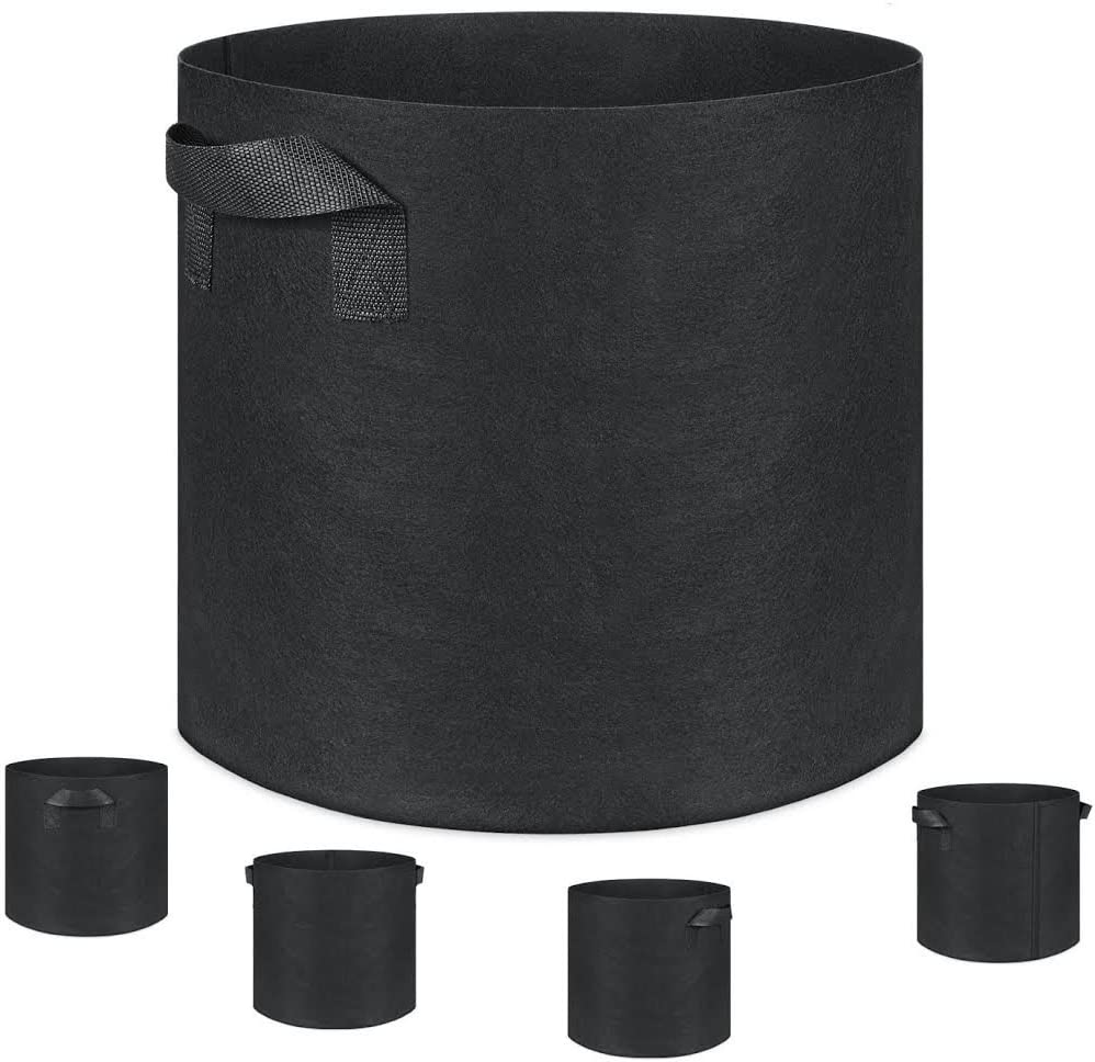 Grow Bags, Fabric Pots, Plantmate 100-Pack Flower Plant Hydroponic Fabric Planter with Handles 10GL X 100-Pack, Black