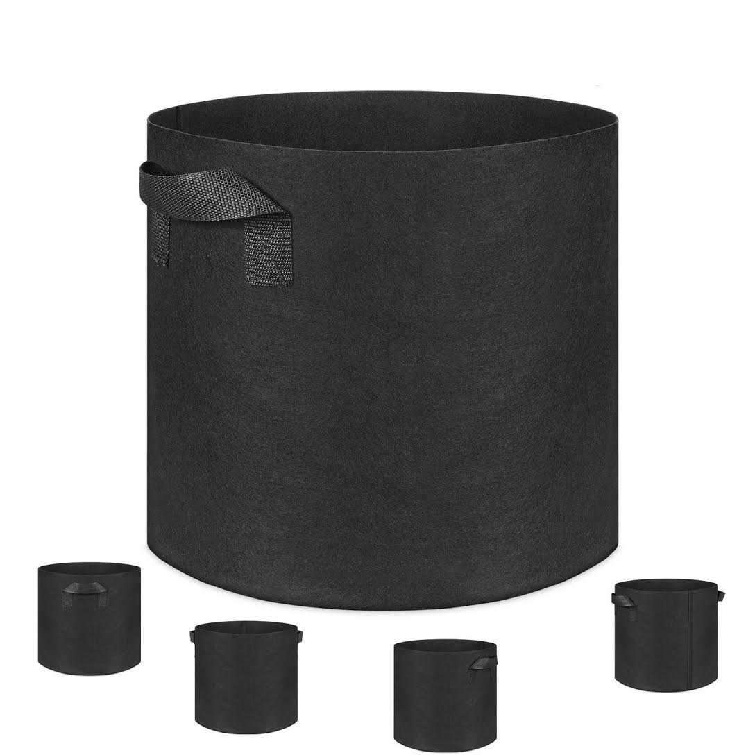 Grow Bags, Root Pouch, 5-Pack 10 Gallon Plantmate Flower Plant Hydroponic Fabric Pot Container with Handles (Black) by Plantmate