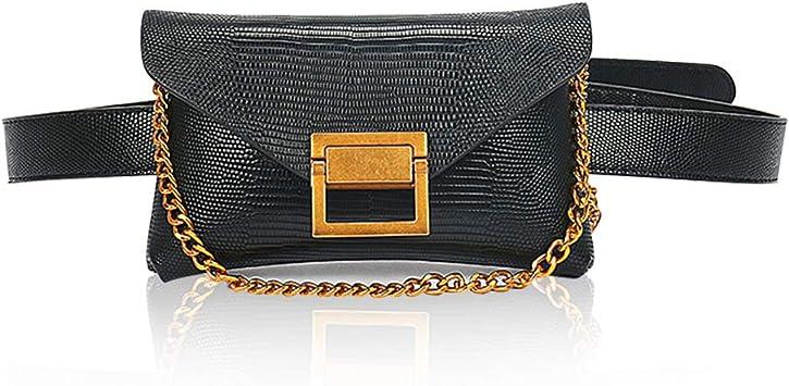 Fanny Packs Crossbody Shoulder Bag Dboar Womens Chest Bag Vegan Leather Shoulder Purse Fashion with Gold Chain Strap