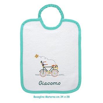 coccole- babero Guardería Scuola Materna bicicleta verde - verde - 3 - 5 años con nombre personalizado para Scuola Materna: Amazon.es: Bebé