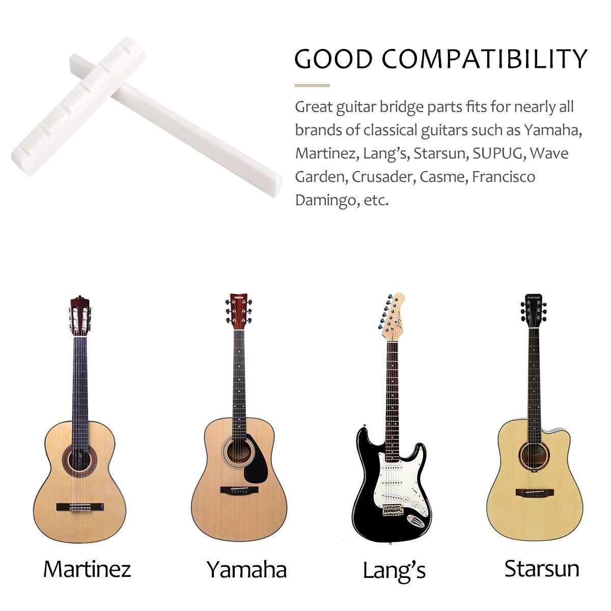 X-Mile Puente de Guitarra Clásica de 6 Cuerdas Juego de Puente y Cejuela Puente de guitarra de hueso hecho de hueso de buey de grado superior para el ...