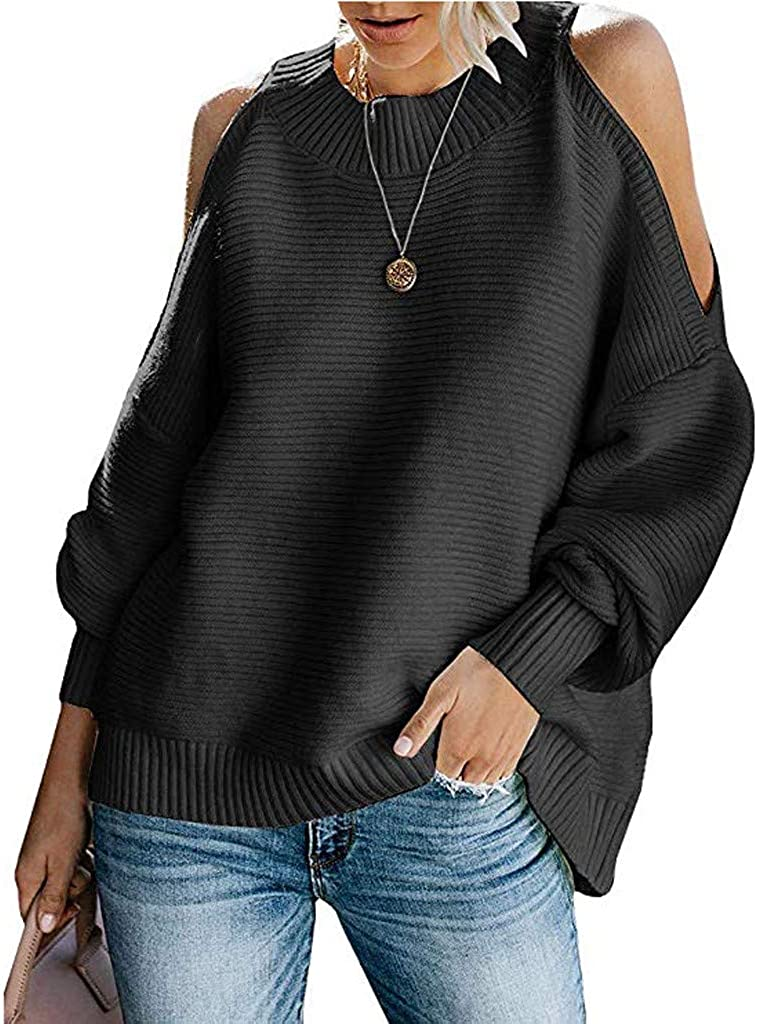 Wadonerful Knit Tops Womens Sweaters Crew Neck Cold Shoulder Batwing Long Sleeve Loose Elegant Knitting Pullover Blouse