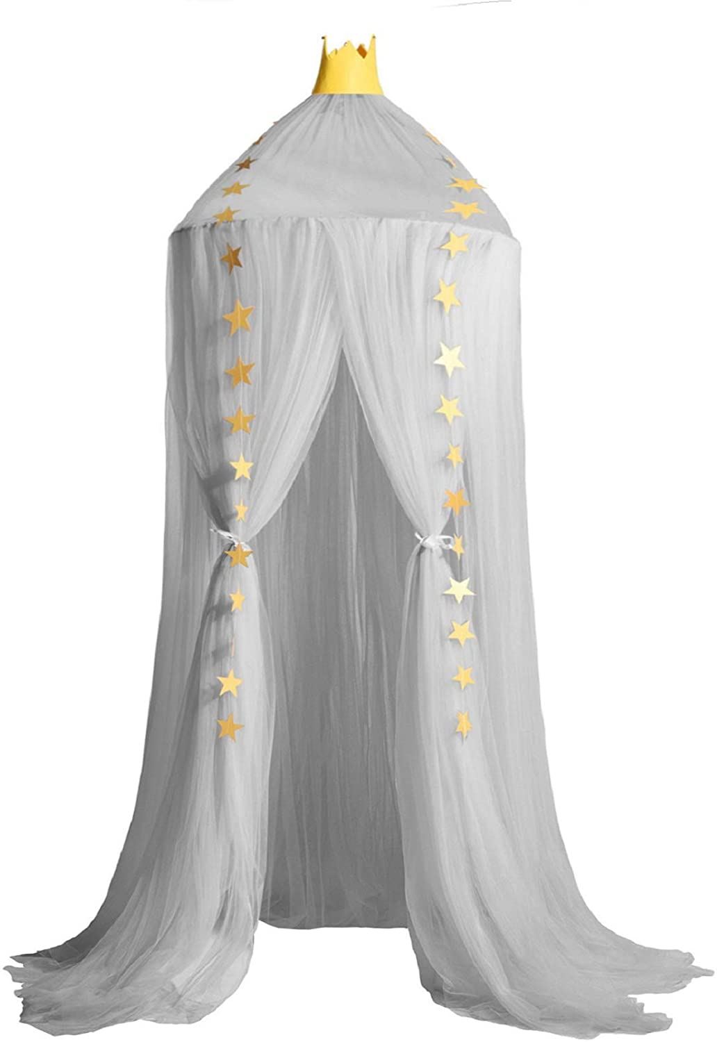 Jolitac Princess Bed Canopy for Kids Room Decor Round Lace Mosquito Net Play Tent Baby House Canopys Yarn Girls Dome Netting Curtains Girls Games House Pink Castle (Gray)