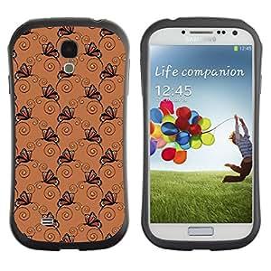 DesignCase Premium TPU / ABS Hybrid Back Case Cover Samsung Galaxy S4 IV i9500 ( dark butterfly )