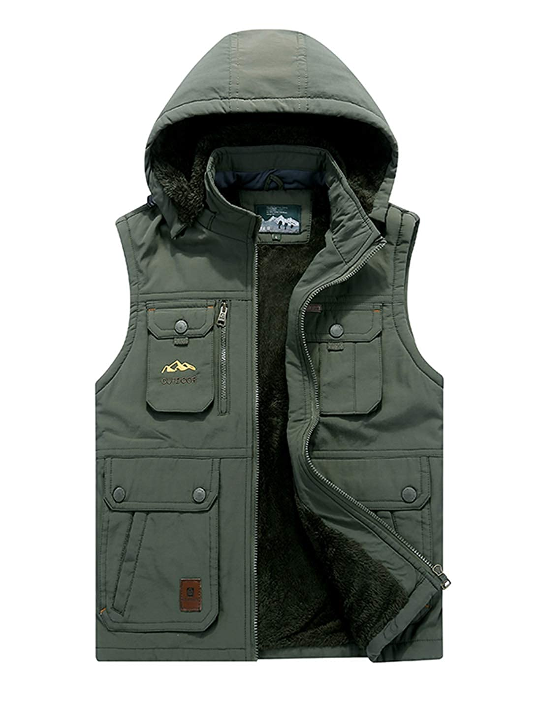 Gihuo Men's Outdoor Fleece Lined Vest Winter Thick Sherpa Fishing Hooded Vest Jacket with Pockets