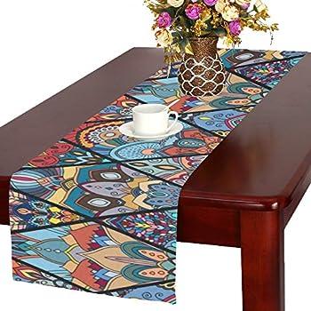 "Love Nature Houseables Fitted Custom Boho Seamless Pattern mandala Cotton Table Runner 16"" x 72"""