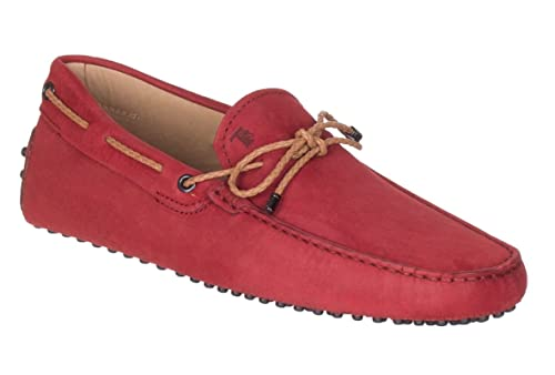 dea96a21d70bb Tod's Men's Red Nubuck Leather Gommino Driving Moccasin Loafer Shoes, Red,  IT 7.5 /