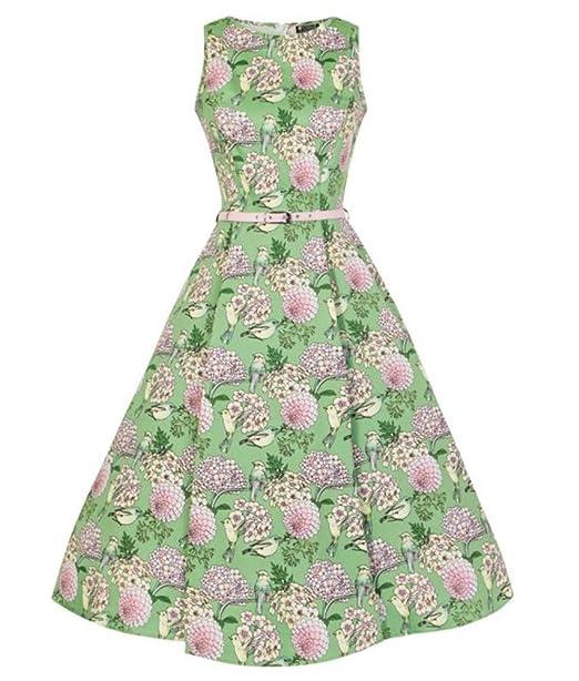 Lady Vintage Oiseaux Cartuja Pájaro Floral Hepburn Años 50 Vestido - Verde, UK 8 (