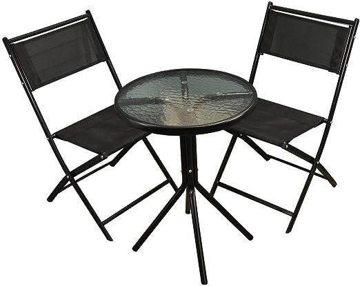 Selections Salon de jardin en métal avec de Chaises pliantes en textilène  noir