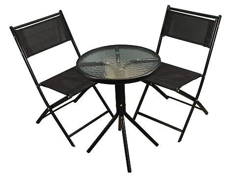 Selections set da giardino in metallo nero con sedie pieghevoli in