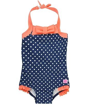 8bfeaa423b79d RuffleButts Baby/Toddler Girls Navy Polka Dot Retro One Piece Halter  Swimsuit One Piece -