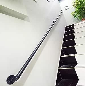 YUDE-20ft Barandilla de Escalera de Hierro Forjado, Tubo galvanizado Negro, barandilla Antideslizante en Forma de Tubo de Viento Industrial, Adecuado para escaleras, pasillos: Amazon.es: Hogar