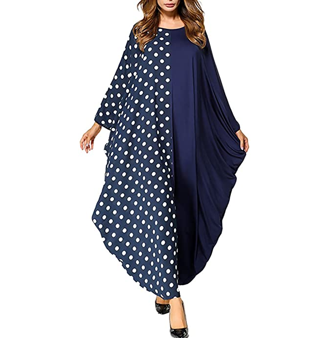 bfb903e20c53 zhxinashu Women Oversize Batwing Sleeve Polka Dot Muslim Maxi Dress One  Size  Amazon.ca  Clothing   Accessories