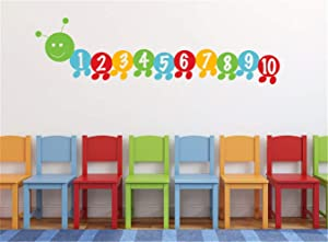 Number Wall Decals Hungry Worm Number Counting Number Wall Decals - Number 1-10 Wall Sticker for Kid's Playroom Bedroom