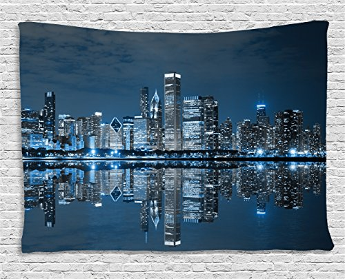 Ambesonne Chicago Skyline Tapestry, Sleeping City Dramatic Urban Resting Popular American Lake Picture, Wall Hanging for Bedroom Living Room Dorm, 80 W X 60 L Inches, Night Blue Grey