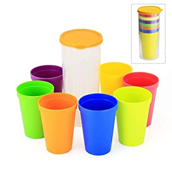 32143bfc798 BBLIKE 7pcs Kids Mug Plastic Cups and Water Battle, Set of 8 Reusable and  Unbreakable, Easy to Store for Outdoor Parties, Picnics, BBQ, ...