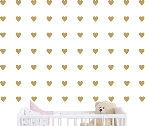 JKJF 72Pcs Heart Shape Wall Decal Stickers Removable Sparkling Gold Stickers Wall Decorate for Wedding Birthday Party Kids Room Nursery Bedroom DIY Wall Decoration
