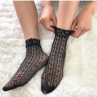 Glamorstar 6 Pairs Lace Fishnet Ankle Socks Dress Socks for Women (6 Styles-Black2) at Women's Clothing store