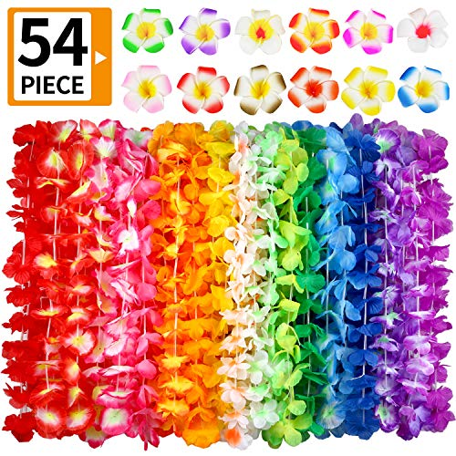 Hawaiian Leis, (54 Designs Total) 42 Flowers Necklaces 7 Colour and 12 Hair Clips for Party Supplies, Hawaiian Luau Decorations, Summer Beach Vacation, Tropical themed Party Favors, Birthday, -