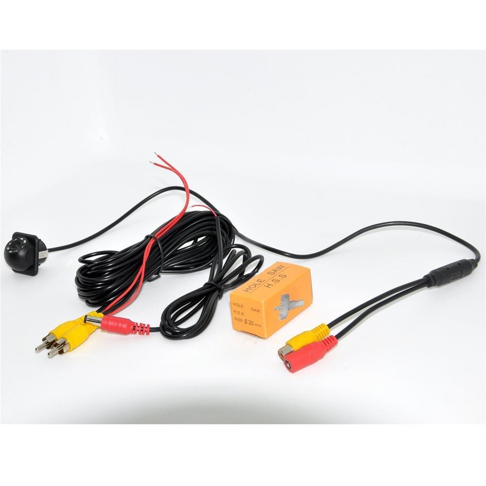 Auto Wayfeng WF/® 8 LED HD CCD C/ámara de visi/ón frontal C/ámara de visi/ón nocturna Gran angular C/ámara de copia de seguridad de marcha atr/ás para el estacionamiento C/ámara de monitor con agujero de taladro
