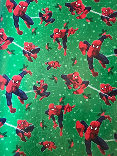 DC Christmas Wrapping Paper- Spiderman Wrapping Paper - Super Hero Wrapping Paper Birthday - Spiderman Wrapping Paper - Spiderman Gift Paper - 1 Roll (Green Spiderman Web (Comic Book Couple Costumes)