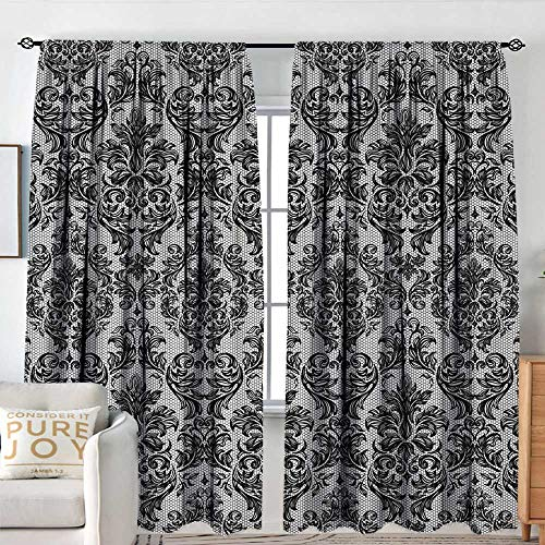 NUOMANAN Home Decoration Thermal Insulated Curtains Baroque,Vintage Lace Style Pattern of Antique Victorian Motifs Renaissance Influences,Black and White,for Bedroom,Nursery,Living Room 84