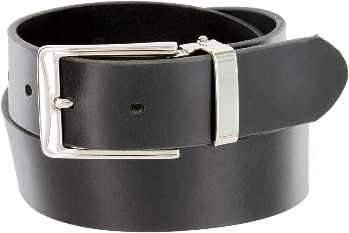 Made in the USA 35mm Genuine Leather Cowhide Dress Belt with Polished Nickel Buckle