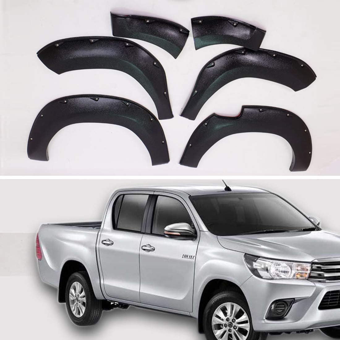 Rhegene New Mud Flaps for Toyota Hilux REVO 4-Door 2015-2016 Adhesive Type Matt Black Fender Protectors Set Kit