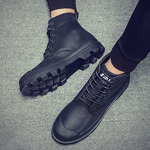 Men's Shoes Feifei Winter Keep Warm Non-Slip High Help Martin Boots (Color : Black, Size : EU42/UK8.5/CN43)