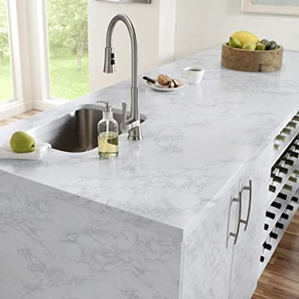 Yancorp Marble Contact Paper Gloss Vinyl Film Self-Adhesive Marble Sticker  Kitchen Countertop Cabinet Furniture Shelf Liner 10ft (16\