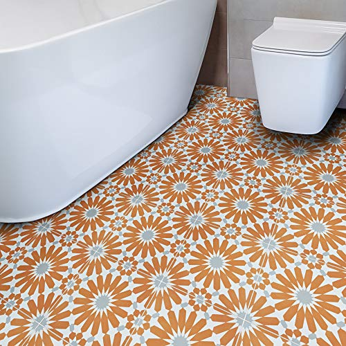 Moroccan Mosaic & Tile House CTP54-02 Alhambra Handmade Cement Tile, 8''X8'', Orange,White,Gray