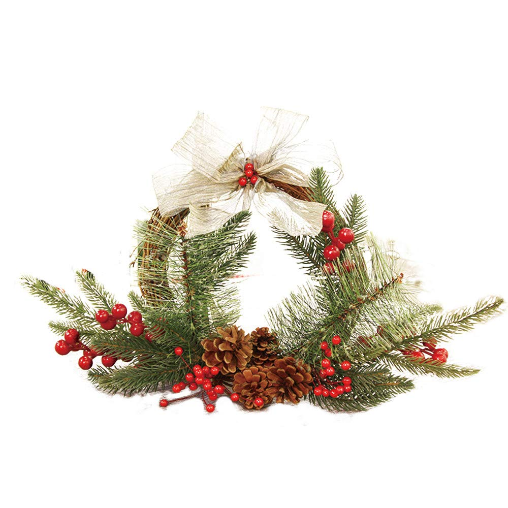 Baomabao 25cm Christmas Wreath Door Wall Ornament Garland Decoration White Bowknot