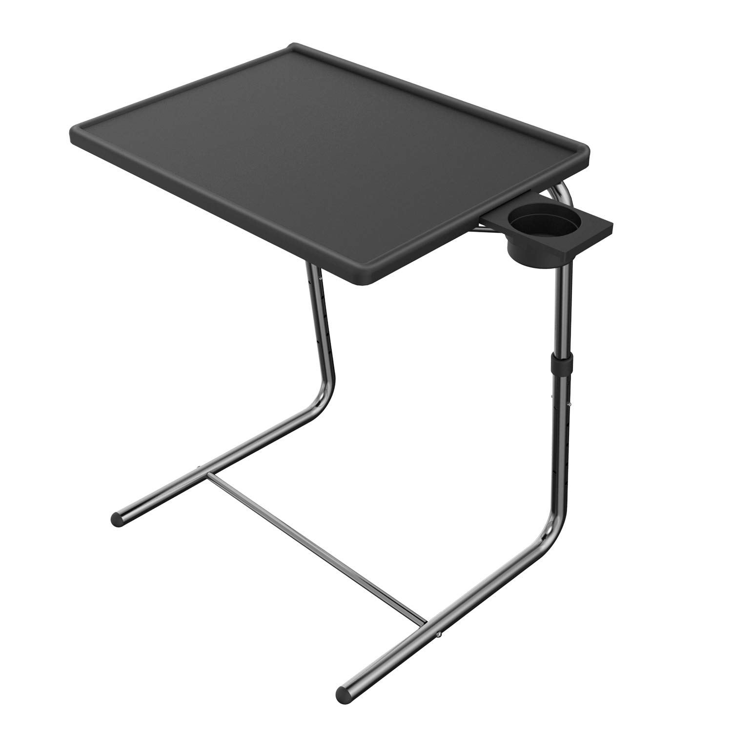 Adjustable TV Tray Table - TV Dinner Tray on Bed & Sofa, Comfortable Folding Table with 5 Height & 3 Tilt Angle Adjustments, Laptop Table with Built-in Cup Holder (1 Pack, Black)