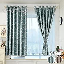 WINYY Modern Rustic Floral Printed Semi-Blackout Curtains Grommet Top Kids Bedroom Living Room DIY Simplicity Short Cloth Shade Drape Sheer Voile Curtain Color Blue ,1 Panel W39 x H47 inch