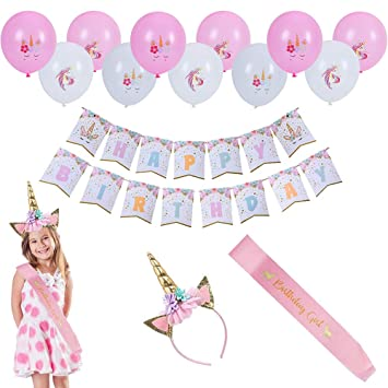 LOKIPA Unicorn Headband with Birthday Girl Sash for Kids Unicorn Birthday Party Supplies Gold
