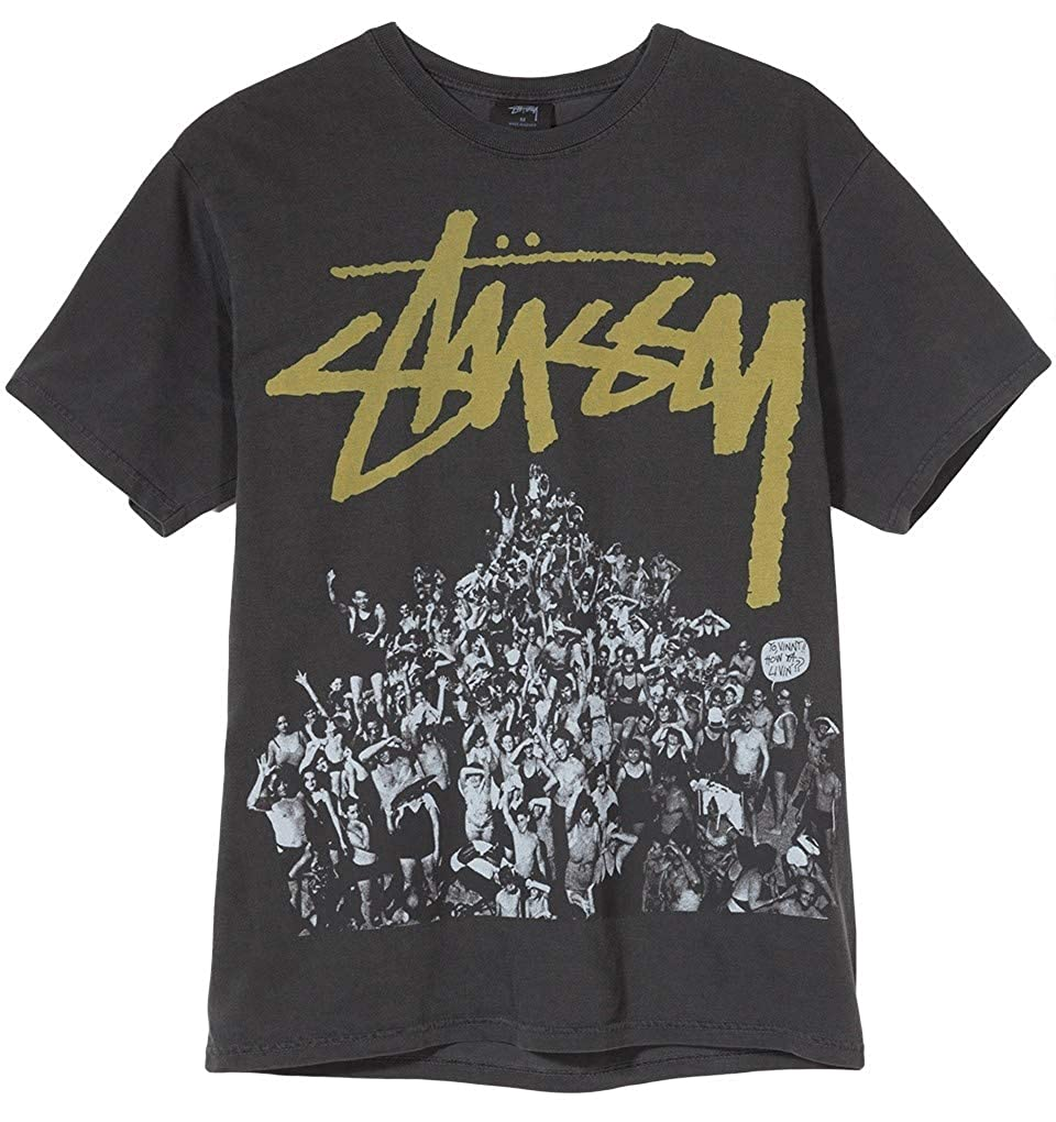ab2c19a3358 Stussy Beach Mob Pigment Dyed T-Shirt Black Yellow Medium  Amazon.co.uk   Clothing