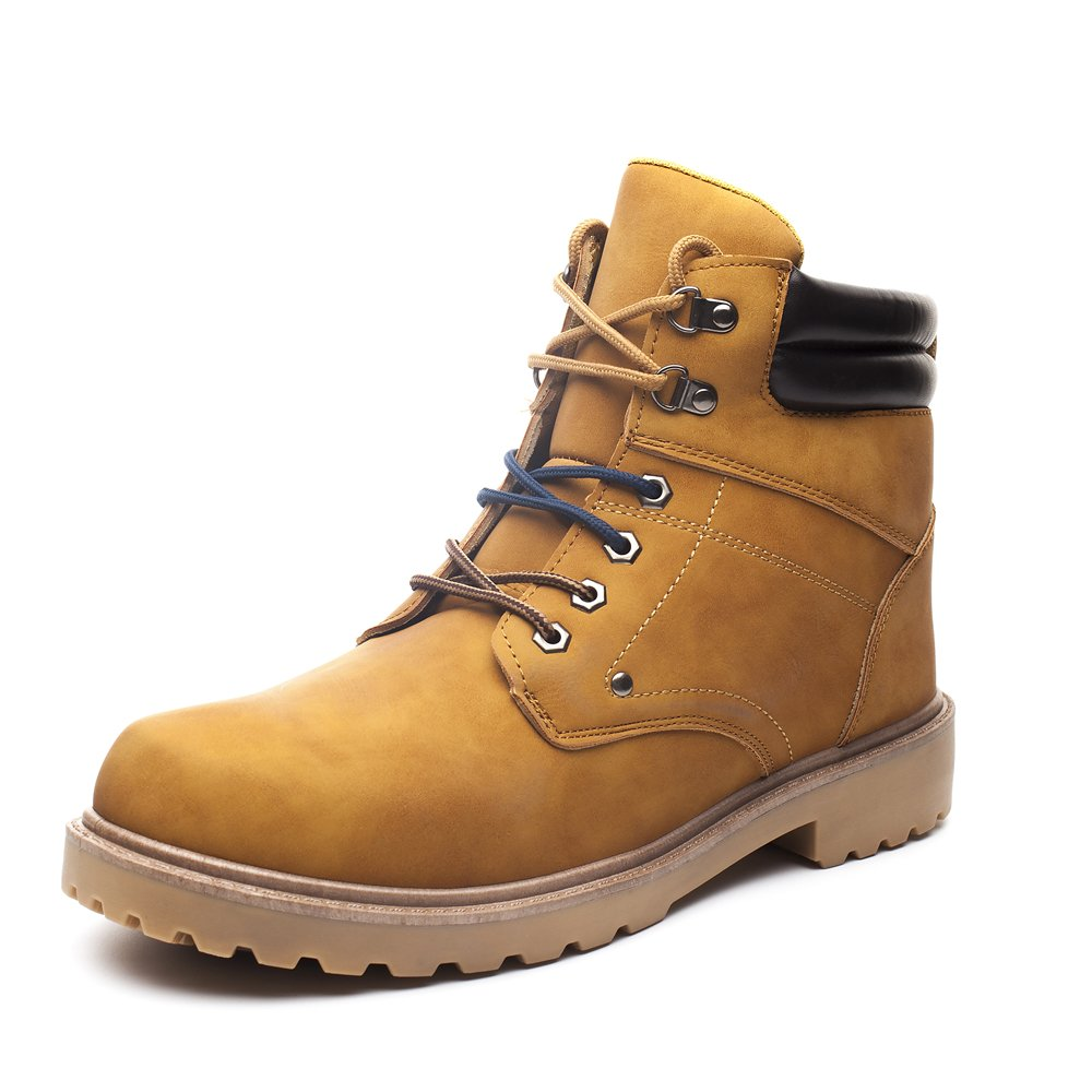 DRKA Men's Water Resistant Work Boots Comfortable Leather Plain Rubber Sole Industrial Construction Shoes for Male(17927-Wheat-46)