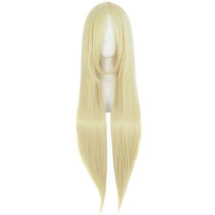 MapofBeauty 80cm/31 pulgada largo lacio seorita lacio anime traje Pelucas (Ligero dorado)