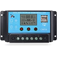 ANFIL Controlador de carga solar PWM 20A 12V/24V Panel Batería Regulador inteligente con puerto USB y pantalla LCD multifunción Protección contra sobrecarga Compensación de temperatura