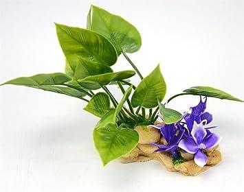 Xinjiener Decoración de la Flor de la Planta de Acuario Artificial para Fish Tank (Rosa