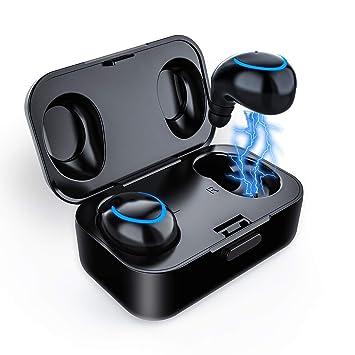 Auriculares Bluetooth - Lesoom T2 Auriculares Inalámbricos Estéreo In-Ear Bluetooth 4.2 Manos Libres con Micrófono Dual con Caja de 6 Horas de Reproducción: ...